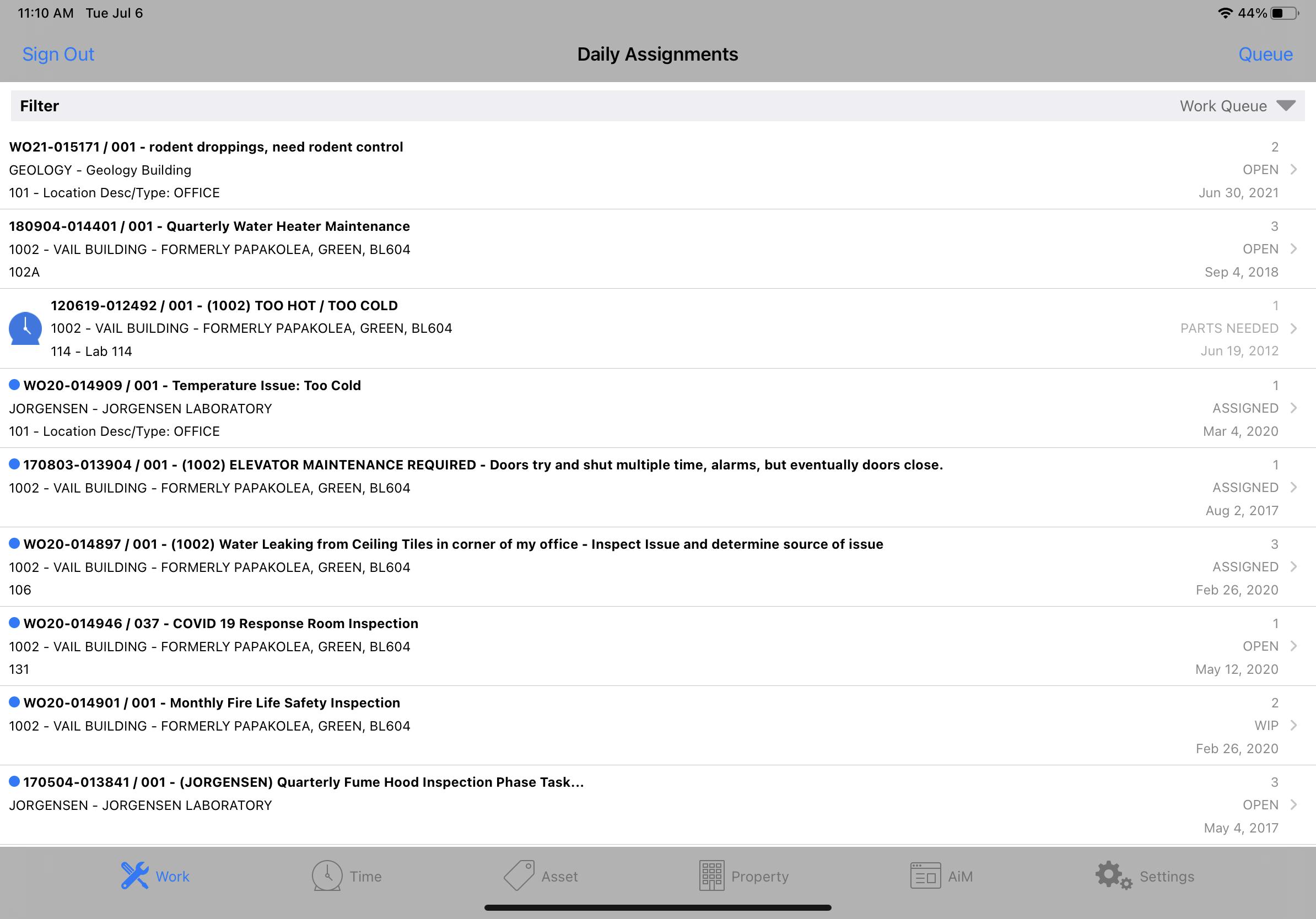 AiM Work Queue - iPad